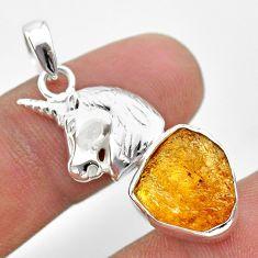7.89cts natural yellow tourmaline 925 sterling silver unicorn pendant t31013