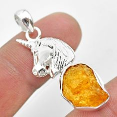 7.32cts natural yellow tourmaline 925 sterling silver unicorn pendant t31019