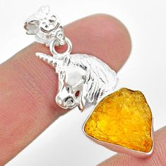 8.44cts natural yellow tourmaline 925 sterling silver unicorn pendant t31020