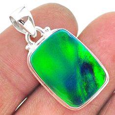 9.29cts northern lights aurora opal (lab) 925 silver pendant jewelry t17035