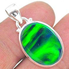 6.31cts northern lights aurora opal (lab) 925 silver pendant jewelry t17085