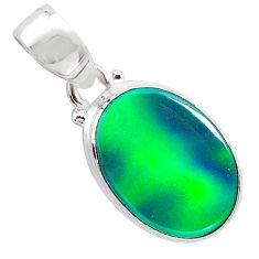 3.65cts northern lights aurora opal (lab) 925 silver pendant jewelry t25802