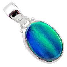 3.29cts northern lights aurora opal (lab) 925 silver pendant jewelry t25805