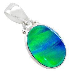 4.07cts northern lights aurora opal (lab) 925 silver pendant jewelry t25821