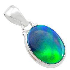 3.73cts northern lights aurora opal (lab) 925 silver pendant jewelry t25826