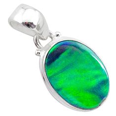 3.67cts northern lights aurora opal (lab) 925 silver pendant jewelry t25832