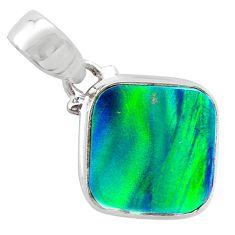 4.05cts northern lights aurora opal (lab) 925 silver pendant jewelry t25834