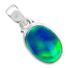 3.29cts northern lights aurora opal (lab) 925 silver pendant jewelry t25843