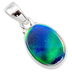 3.65cts northern lights aurora opal (lab) 925 silver pendant jewelry t25846