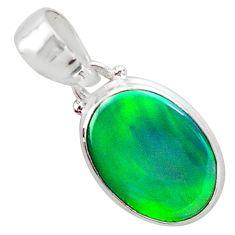 3.65cts northern lights aurora opal (lab) 925 silver pendant jewelry t25849