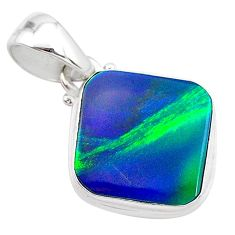 3.65cts northern lights aurora opal (lab) 925 silver pendant jewelry t25854