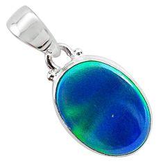 3.67cts northern lights aurora opal (lab) 925 silver pendant jewelry t25858