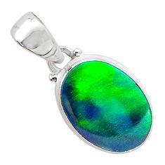 3.29cts northern lights aurora opal (lab) 925 silver pendant jewelry t25859