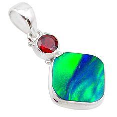 4.72cts northern lights aurora opal (lab) garnet 925 silver pendant t25974