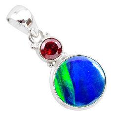 4.48cts northern lights aurora opal (lab) garnet 925 silver pendant t25980