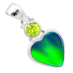 4.07cts northern lights aurora opal (lab) green peridot silver pendant t25990