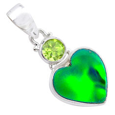 4.37cts northern lights aurora opal (lab) green peridot silver pendant t26003