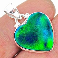 8.38cts northern lights aurora opal (lab) heart 925 silver pendant t17026