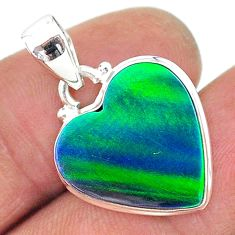 7.27cts northern lights aurora opal (lab) heart 925 silver pendant t17045