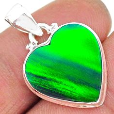 8.71cts northern lights aurora opal (lab) heart 925 silver pendant t17053