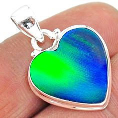 6.43cts northern lights aurora opal (lab) heart 925 silver pendant t17065