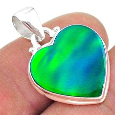 6.46cts northern lights aurora opal (lab) heart 925 silver pendant t17068