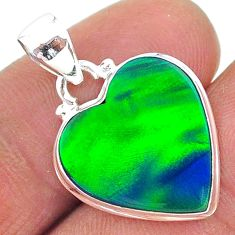5.95cts northern lights aurora opal (lab) heart 925 silver pendant t17070