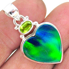 10.22cts northern lights aurora opal (lab) heart peridot silver pendant t17013