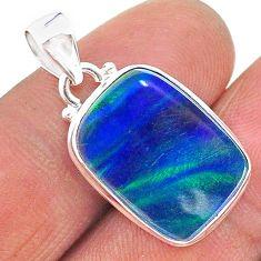 8.35cts northern lights aurora opal (lab) octagan silver pendant jewelry t17023