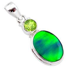4.46cts northern lights aurora opal (lab) oval peridot 925 silver pendant t25966