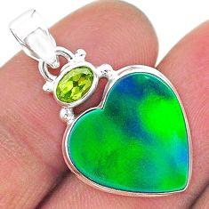9.67cts northern lights aurora opal (lab) peridot 925 silver pendant t16961