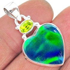 8.33cts northern lights aurora opal (lab) peridot 925 silver pendant t16962