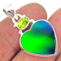 8.86cts northern lights aurora opal (lab) peridot 925 silver pendant t16964