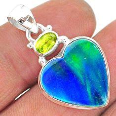 9.67cts northern lights aurora opal (lab) peridot 925 silver pendant t16968