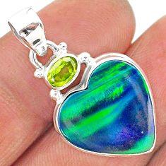 10.22cts northern lights aurora opal (lab) peridot 925 silver pendant t16971