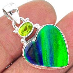 8.81cts northern lights aurora opal (lab) peridot 925 silver pendant t16972