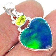 9.17cts northern lights aurora opal (lab) peridot 925 silver pendant t16977