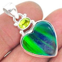 9.77cts northern lights aurora opal (lab) peridot 925 silver pendant t16978