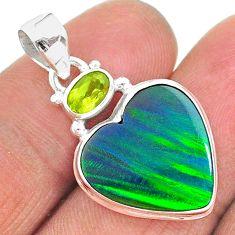 9.79cts northern lights aurora opal (lab) peridot 925 silver pendant t16983