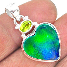 9.67cts northern lights aurora opal (lab) peridot 925 silver pendant t16986
