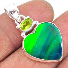9.29cts northern lights aurora opal (lab) peridot 925 silver pendant t16987
