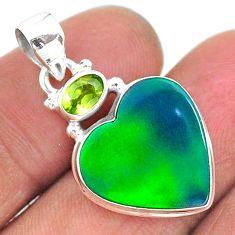 10.27cts northern lights aurora opal (lab) peridot 925 silver pendant t16989