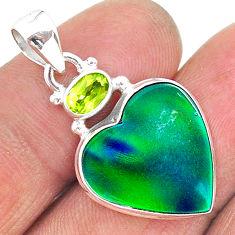 9.79cts northern lights aurora opal (lab) peridot 925 silver pendant t16992