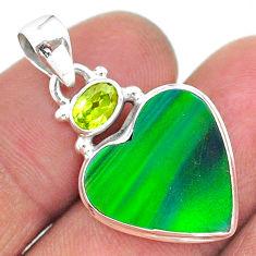 9.67cts northern lights aurora opal (lab) peridot 925 silver pendant t16995