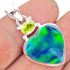 10.22cts northern lights aurora opal (lab) peridot 925 silver pendant t16998