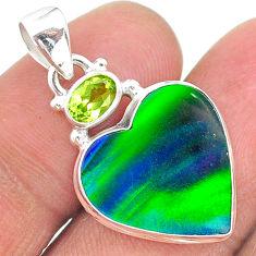 9.34cts northern lights aurora opal (lab) peridot 925 silver pendant t17001