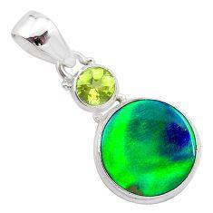 4.03cts northern lights aurora opal (lab) peridot 925 silver pendant t25963