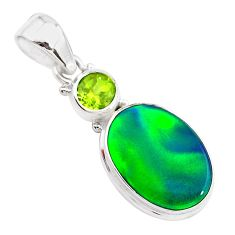 4.10cts northern lights aurora opal (lab) peridot 925 silver pendant t25973