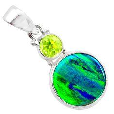 4.45cts northern lights aurora opal (lab) peridot 925 silver pendant t25982