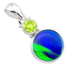 4.03cts northern lights aurora opal (lab) peridot 925 silver pendant t25986